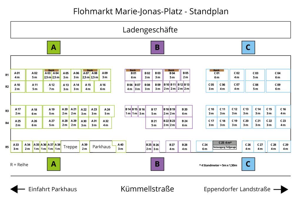 Standplan Übersicht Flohmarkt Marie-Jonas-Platz 2019